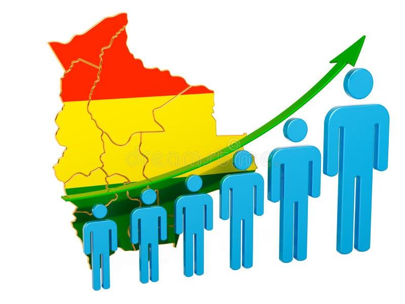 Värdering av anställning och arbetslöshet eller dödlighet och fertilitet i Bolivia, begrepp framf?rande 3d royaltyfri illustrationer