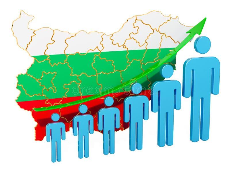 Värdering av anställning och arbetslöshet eller dödlighet och fertilitet i Bulgarien, begrepp framf?rande 3d stock illustrationer