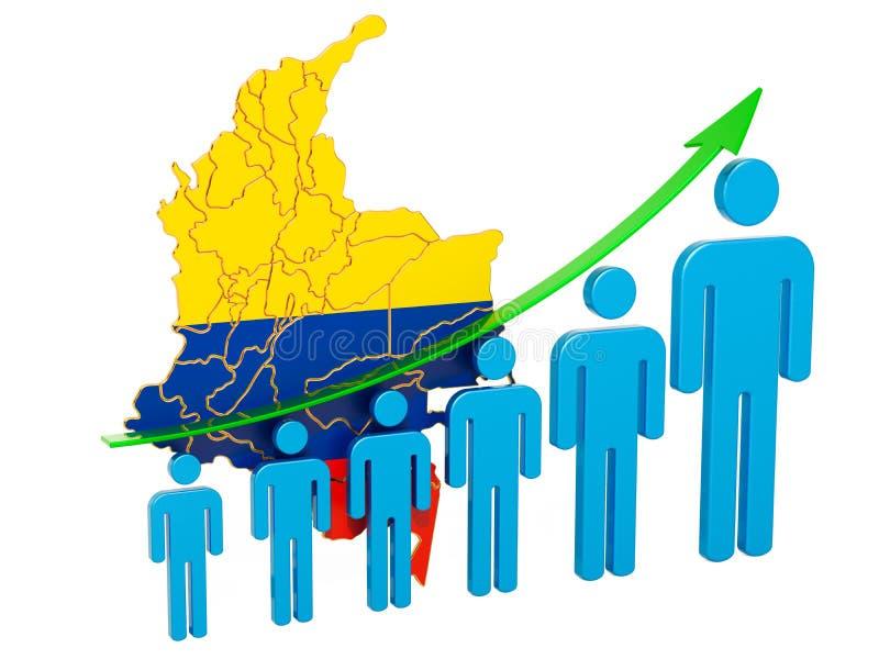 Värdering av anställning och arbetslöshet eller dödlighet och fertilitet i Columbia, begrepp framf?rande 3d royaltyfri illustrationer
