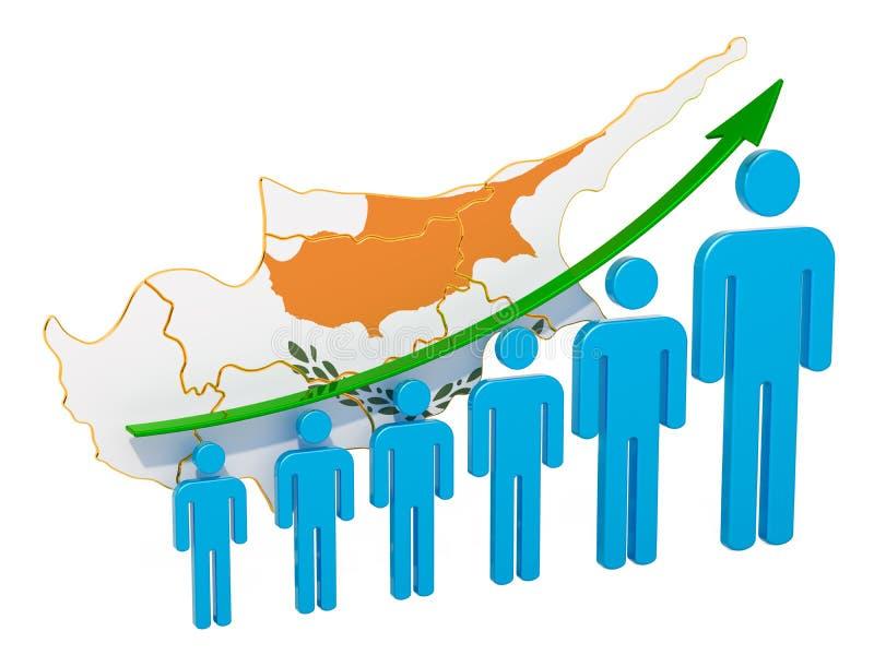 Värdering av anställning och arbetslöshet eller dödlighet och fertilitet i Cypern, begrepp framf?rande 3d stock illustrationer