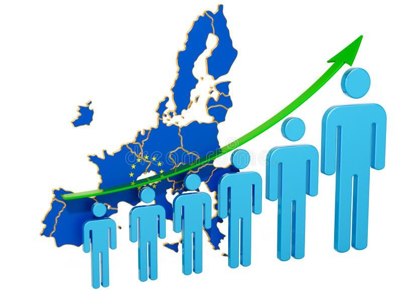 Värdering av anställning och arbetslöshet eller dödlighet och fertilitet i den europeiska unionen, begrepp framf?rande 3d vektor illustrationer
