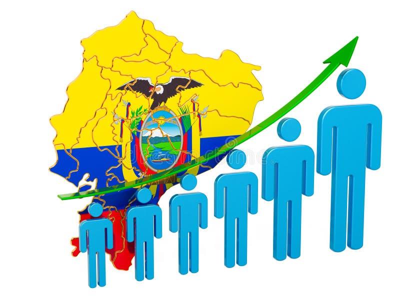 Värdering av anställning och arbetslöshet eller dödlighet och fertilitet i Ecuador, begrepp framf?rande 3d vektor illustrationer