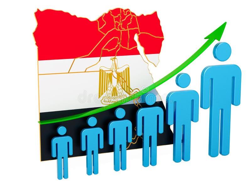 Värdering av anställning och arbetslöshet eller dödlighet och fertilitet i Egypten, begrepp framf?rande 3d vektor illustrationer