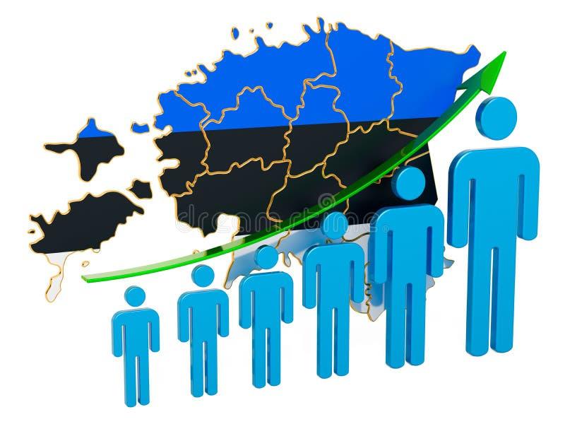 Värdering av anställning och arbetslöshet eller dödlighet och fertilitet i Estland, begrepp framf?rande 3d stock illustrationer