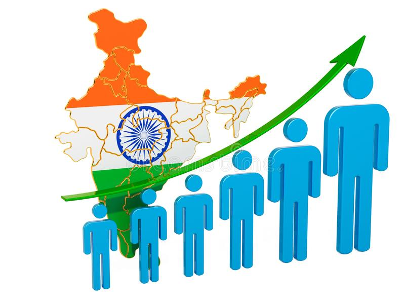 Värdering av anställning och arbetslöshet eller dödlighet och fertilitet i Indien, begrepp framf?rande 3d royaltyfri illustrationer