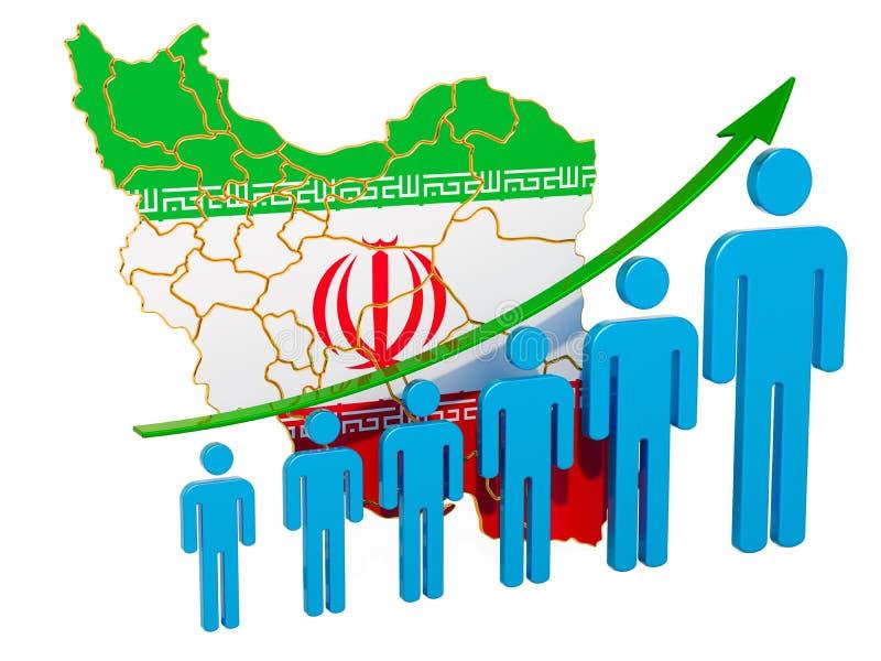 Värdering av anställning och arbetslöshet eller dödlighet och fertilitet i Iran, begrepp framf?rande 3d vektor illustrationer
