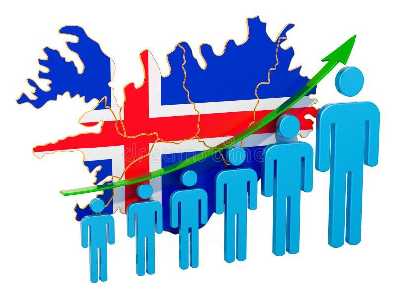 Värdering av anställning och arbetslöshet eller dödlighet och fertilitet i Island, begrepp framf?rande 3d royaltyfri illustrationer