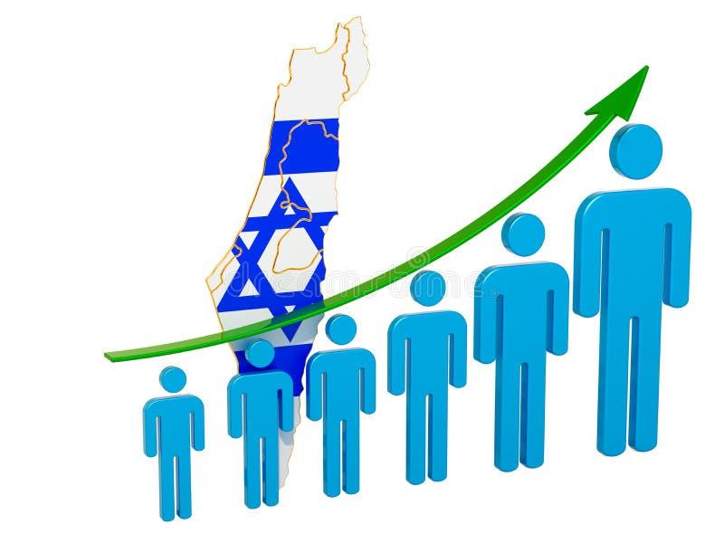 Värdering av anställning och arbetslöshet eller dödlighet och fertilitet i Israel, begrepp framf?rande 3d vektor illustrationer