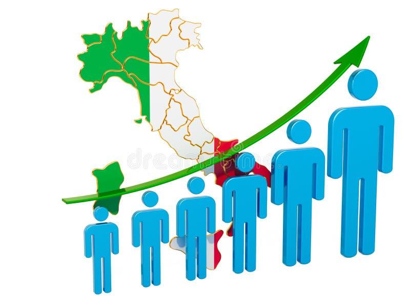 Värdering av anställning och arbetslöshet eller dödlighet och fertilitet i Italien, begrepp framf?rande 3d royaltyfri illustrationer