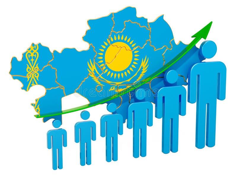 Värdering av anställning och arbetslöshet eller dödlighet och fertilitet i Kasakhstan, begrepp framf?rande 3d stock illustrationer