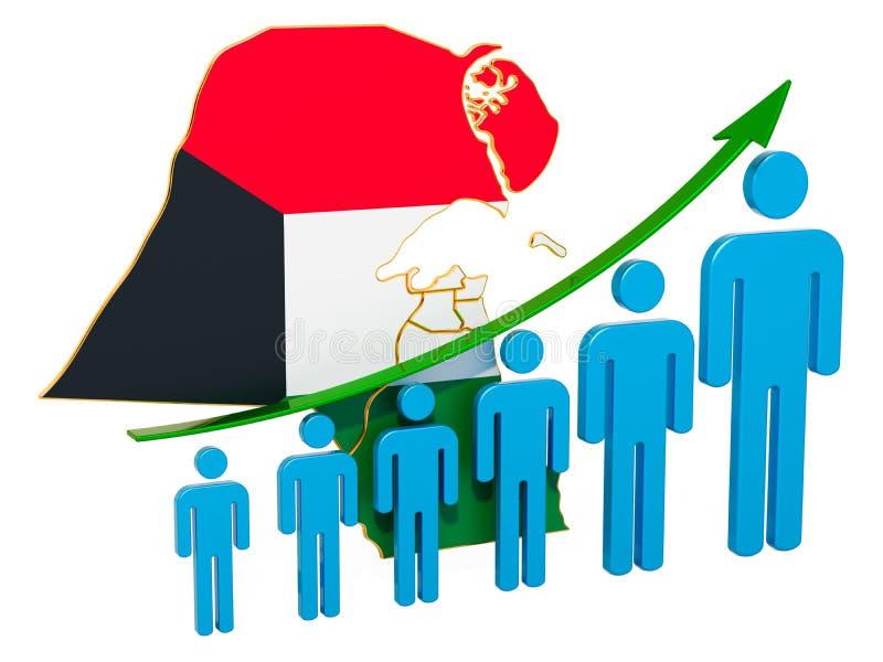 Värdering av anställning och arbetslöshet eller dödlighet och fertilitet i Kuwait, begrepp framf?rande 3d vektor illustrationer