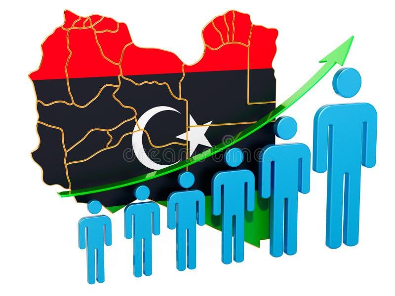Värdering av anställning och arbetslöshet eller dödlighet och fertilitet i Libyen, begrepp framf?rande 3d vektor illustrationer
