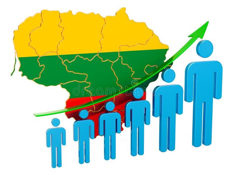 Värdering av anställning och arbetslöshet eller dödlighet och fertilitet i Litauen, begrepp framf?rande 3d royaltyfri illustrationer