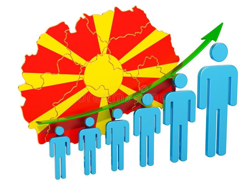 Värdering av anställning och arbetslöshet eller dödlighet och fertilitet i Makedonien, begrepp framf?rande 3d vektor illustrationer