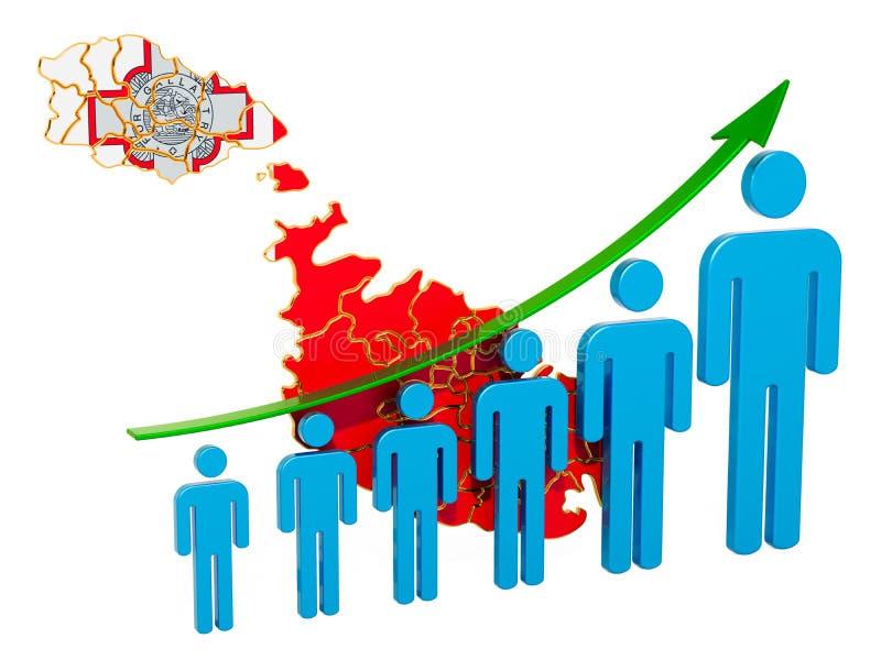 Värdering av anställning och arbetslöshet eller dödlighet och fertilitet i Malta, begrepp framf?rande 3d stock illustrationer