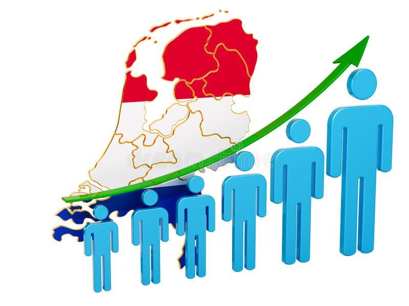 Värdering av anställning och arbetslöshet eller dödlighet och fertilitet i Nederländerna, begrepp framf?rande 3d royaltyfri illustrationer