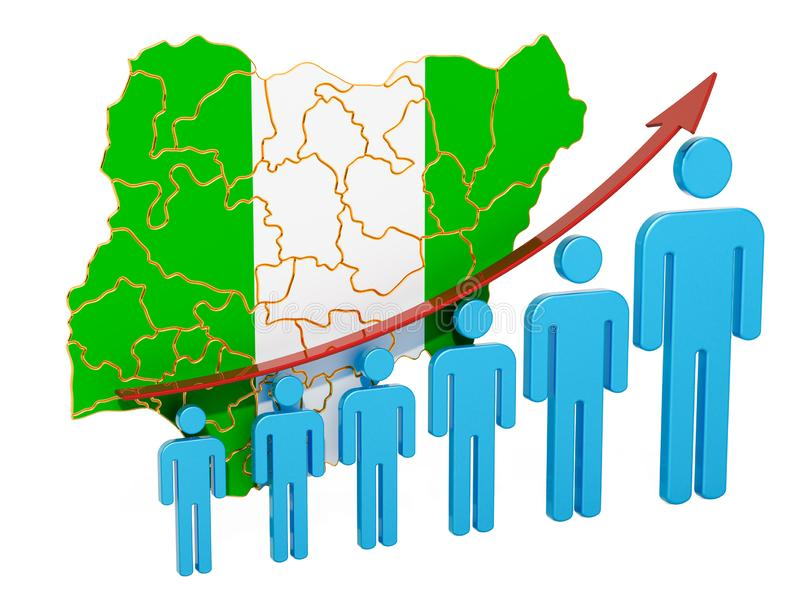 Värdering av anställning och arbetslöshet eller dödlighet och fertilitet i Nigeria, begrepp framf?rande 3d vektor illustrationer