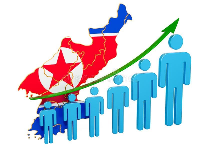 Värdering av anställning och arbetslöshet eller dödlighet och fertilitet i Nordkorea, begrepp framf?rande 3d vektor illustrationer