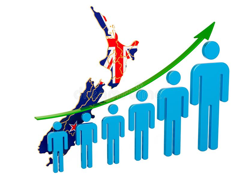 Värdering av anställning och arbetslöshet eller dödlighet och fertilitet i Nya Zeeland, begrepp framf?rande 3d royaltyfri illustrationer