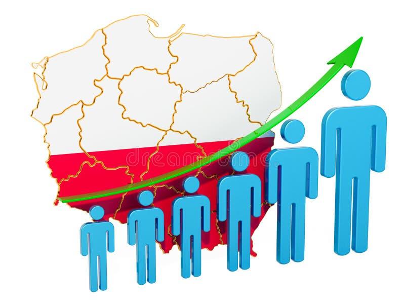 Värdering av anställning och arbetslöshet eller dödlighet och fertilitet i Polen, begrepp framf?rande 3d royaltyfri illustrationer