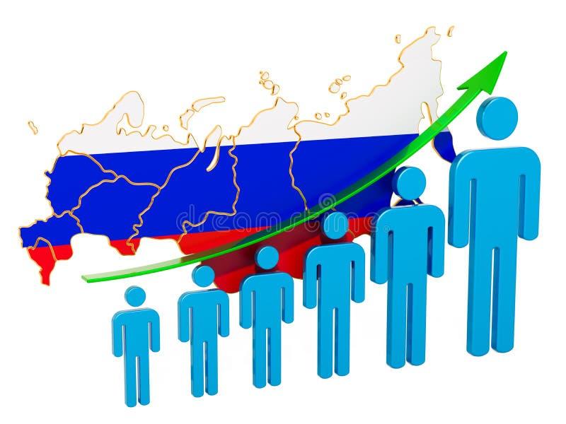 Värdering av anställning och arbetslöshet eller dödlighet och fertilitet i Ryska federationen, begrepp framf?rande 3d stock illustrationer