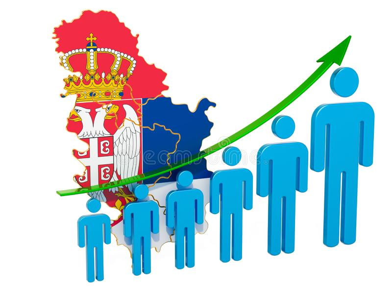 Värdering av anställning och arbetslöshet eller dödlighet och fertilitet i Serbien, begrepp framf?rande 3d royaltyfri illustrationer