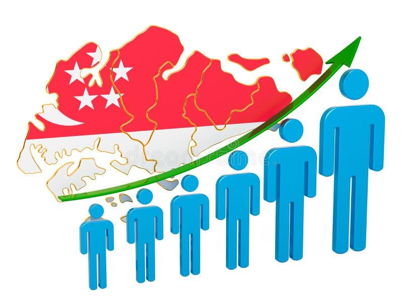 Värdering av anställning och arbetslöshet eller dödlighet och fertilitet i Singapore, begrepp framf?rande 3d stock illustrationer