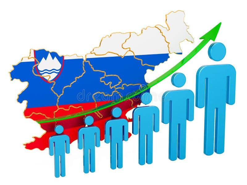 Värdering av anställning och arbetslöshet eller dödlighet och fertilitet i Slovenien, begrepp framf?rande 3d royaltyfri illustrationer
