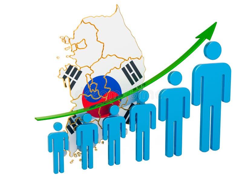 Värdering av anställning och arbetslöshet eller dödlighet och fertilitet i Sydkorea, begrepp framf?rande 3d stock illustrationer