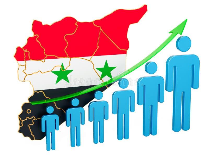 Värdering av anställning och arbetslöshet eller dödlighet och fertilitet i Syrien, begrepp framf?rande 3d vektor illustrationer