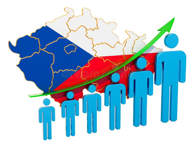 Värdering av anställning och arbetslöshet eller dödlighet och fertilitet i Tjeckien, begrepp framf?rande 3d royaltyfri illustrationer