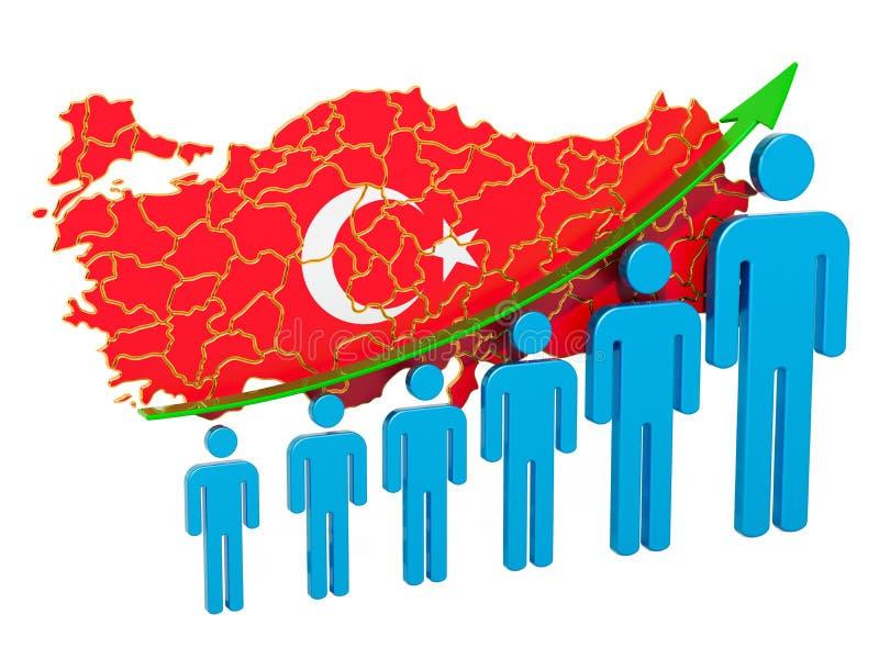 Värdering av anställning och arbetslöshet eller dödlighet och fertilitet i Turkiet, begrepp framf?rande 3d stock illustrationer
