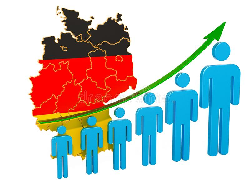 Värdering av anställning och arbetslöshet eller dödlighet och fertilitet i Tyskland, begrepp framf?rande 3d royaltyfri illustrationer