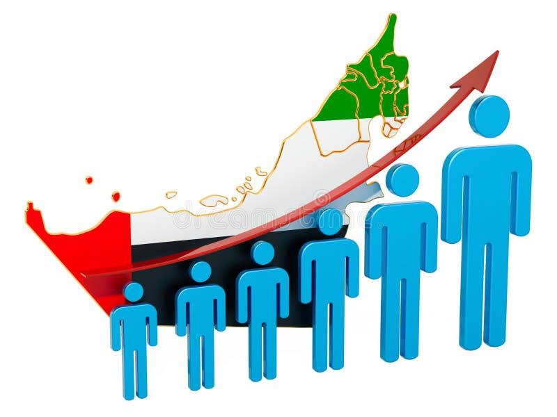 Värdering av anställning och arbetslöshet eller dödlighet och fertilitet i UAE, begrepp framf?rande 3d vektor illustrationer