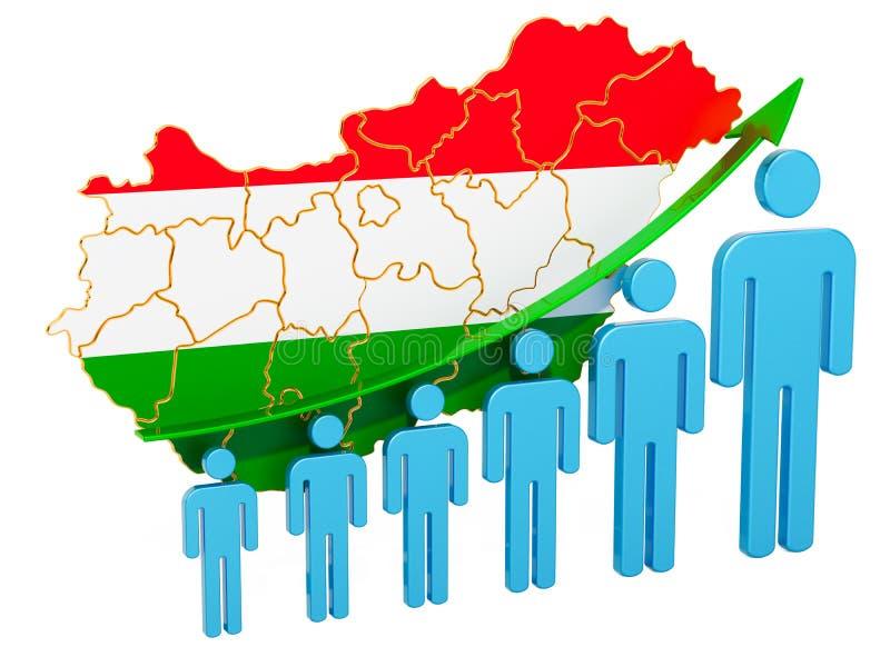 Värdering av anställning och arbetslöshet eller dödlighet och fertilitet i Ungern, begrepp framf?rande 3d stock illustrationer