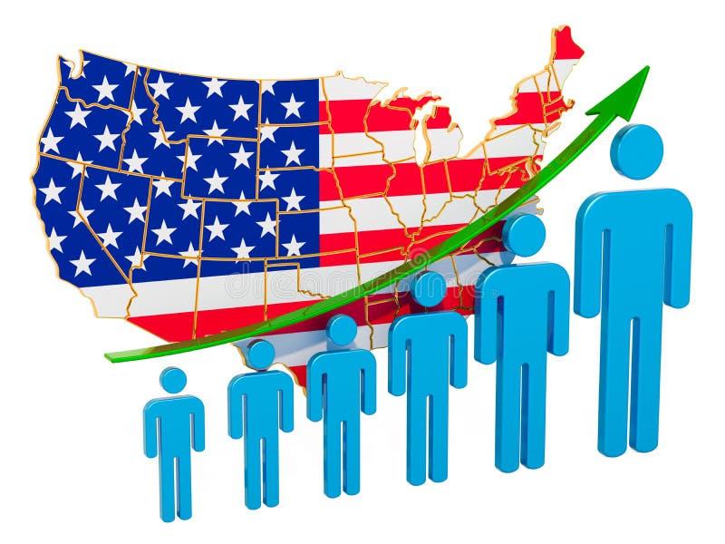 Värdering av anställning och arbetslöshet eller dödlighet och fertilitet i USA, begrepp framf?rande 3d stock illustrationer