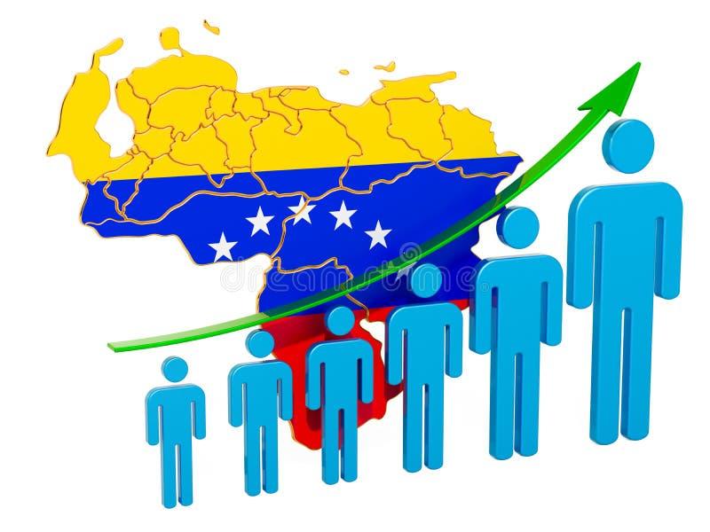Värdering av anställning och arbetslöshet eller dödlighet och fertilitet i Venezuela, begrepp framf?rande 3d vektor illustrationer