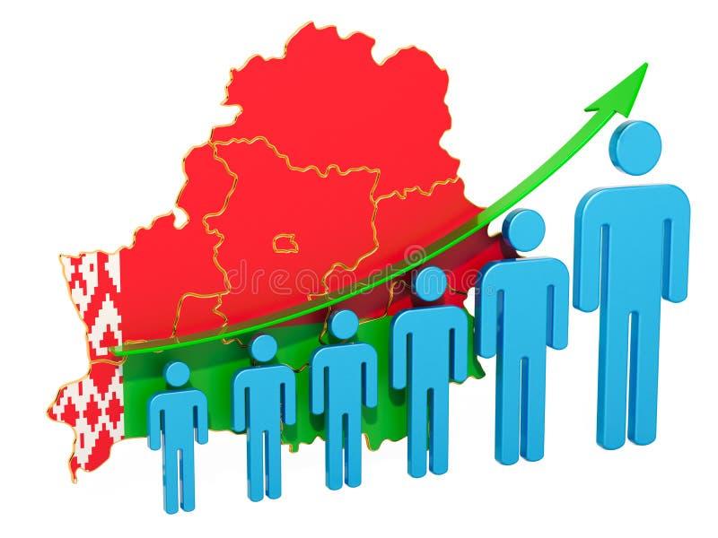 Värdering av anställning och arbetslöshet eller dödlighet och fertilitet i Vitryssland, begrepp framf?rande 3d royaltyfri illustrationer