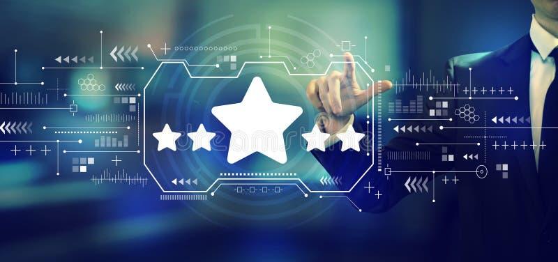 Värdering för fem stjärna med en affärsman arkivbilder