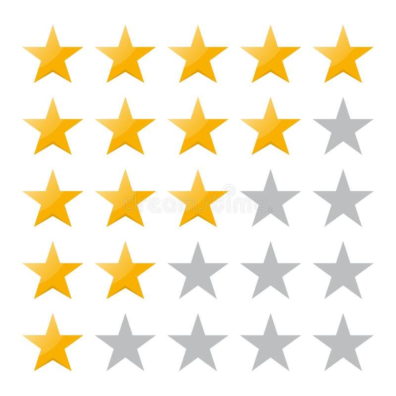 värdering för 5 stjärna Vektorillustration EPS10 Det isolerade emblemet för website eller app - lagerföra infographicsen stock illustrationer