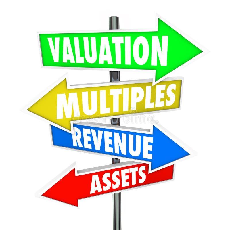 Värdering Multipler Intäkter Tillgångar Pil Tecken Företag affär stock illustrationer