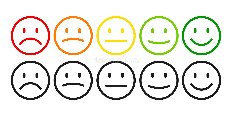 Värdering vid emoticons från negation till positiv fastställd sinnesrörelse Rang nivå av tillfredsställelsevärderingen stock illustrationer
