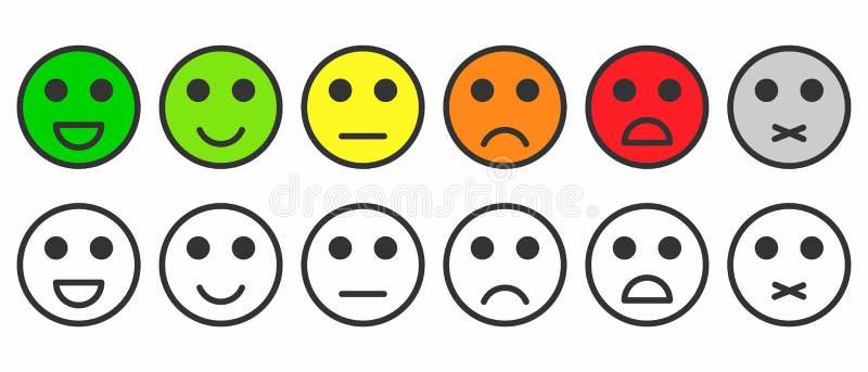 Värderingstillfredsställelse Återkoppling i formen av monokromma och färgrika sinnesrörelser, emojis stock illustrationer