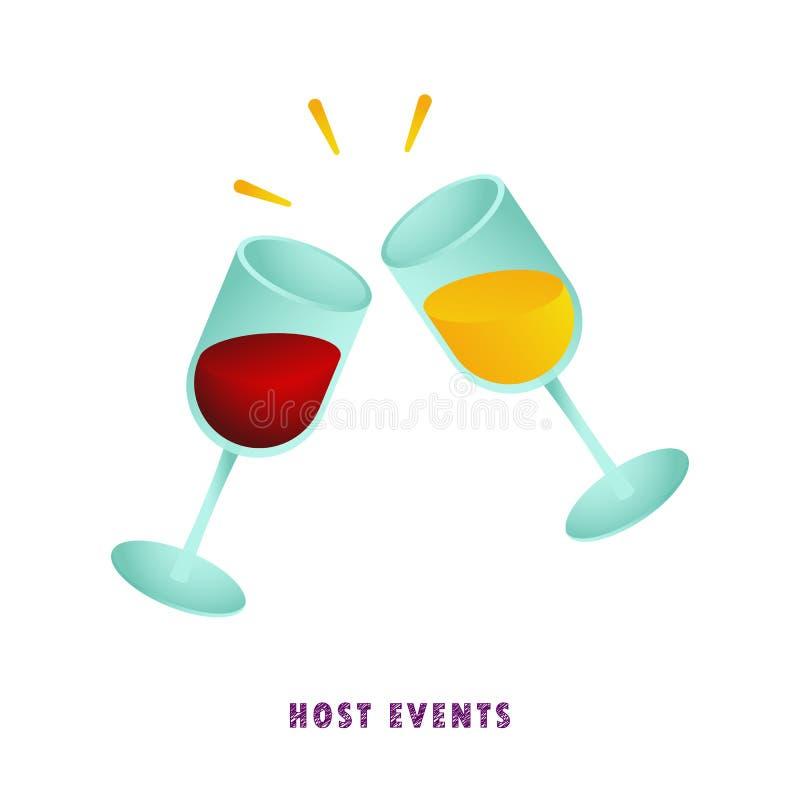 Värdshändelser wine för exponeringsglas två också vektor för coreldrawillustration plant lutning vektor illustrationer
