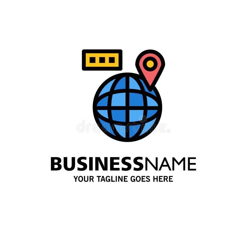 Värld översikt, navigering, lägeaffär Logo Template plan f?rg royaltyfri illustrationer