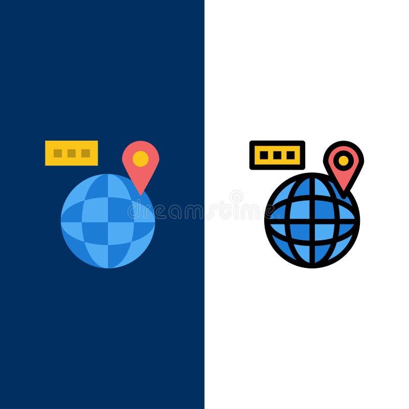 Värld översikt, navigering, lägesymboler Lägenheten och linjen fylld symbol ställde in blå bakgrund för vektorn stock illustrationer