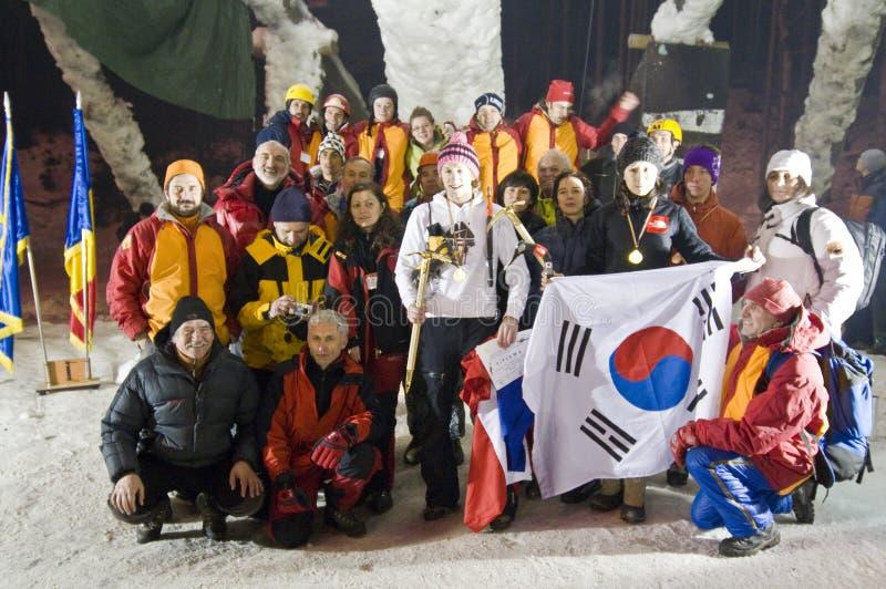 värld 2008 för is för bustenimästerskapklättring royaltyfri fotografi