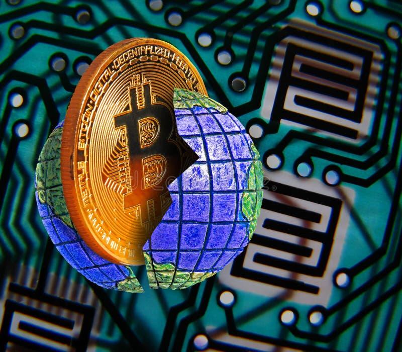 Värld av digital bitcoin royaltyfria bilder