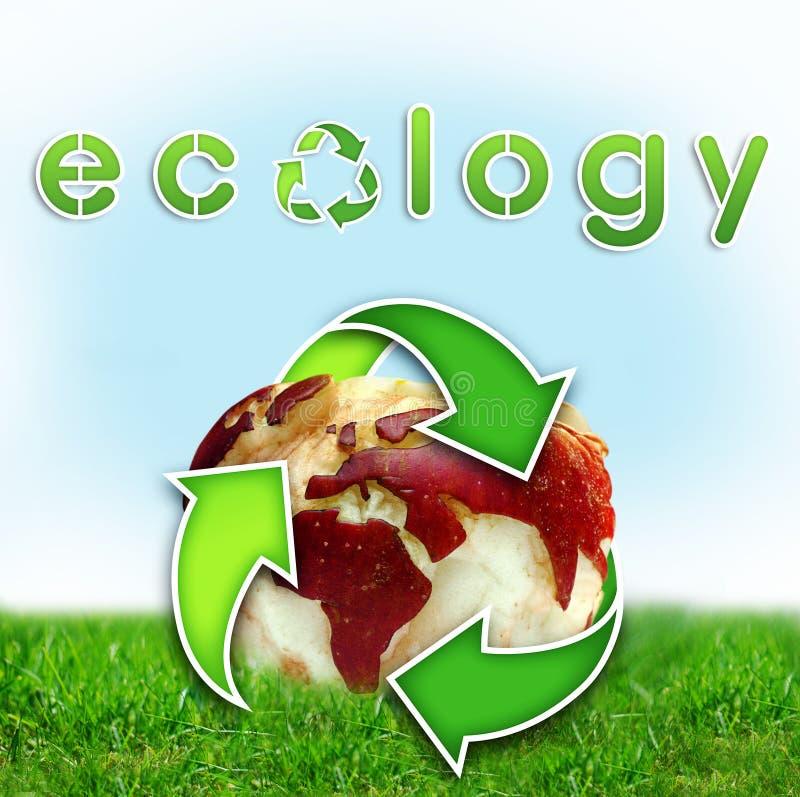värld för äppleekologiöversikt stock illustrationer