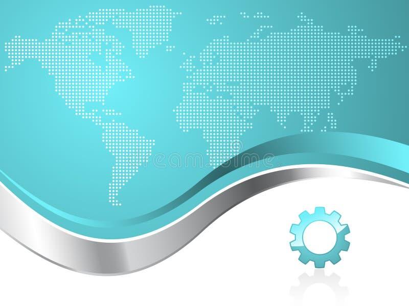 värld för översikt för logo för bakgrundsaffärskugghjul stock illustrationer